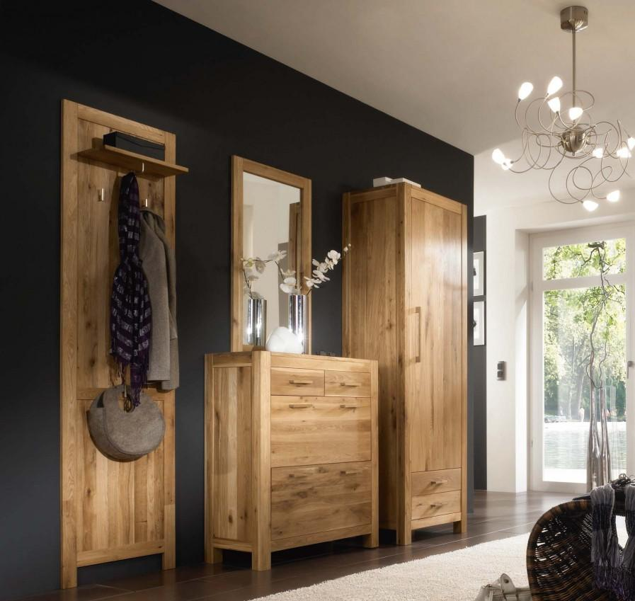 garderobe garderobenset casa 4 teilig wildeiche massivholz. Black Bedroom Furniture Sets. Home Design Ideas