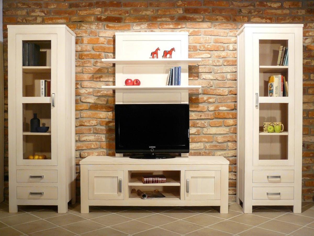 wohnwand bavaria iii fichte wei geb rstet vollmassiv. Black Bedroom Furniture Sets. Home Design Ideas