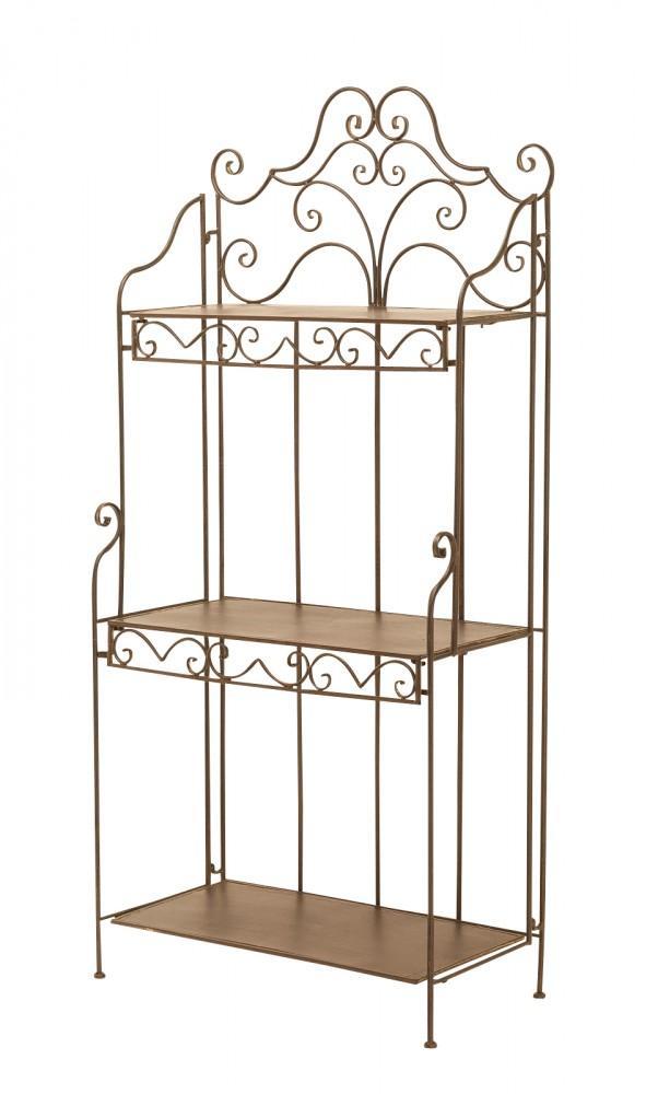 landhaus eisenregal fant 3 metallregal antik braun klappbar. Black Bedroom Furniture Sets. Home Design Ideas
