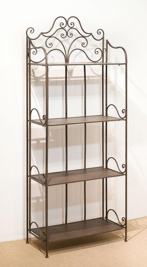 landhaus eisenregal metallregal fant 4 antik braun klappbar. Black Bedroom Furniture Sets. Home Design Ideas