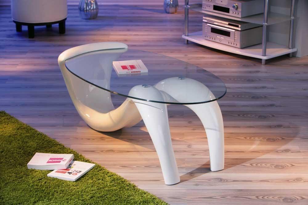 Design Fiberglas Couchtisch Bella hochglanz weiß