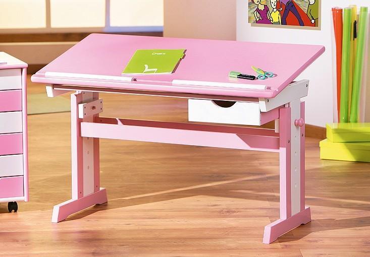 abc schreibtisch kinderschreibtisch f r m dchen pink verstellbar mit schublade ebay. Black Bedroom Furniture Sets. Home Design Ideas