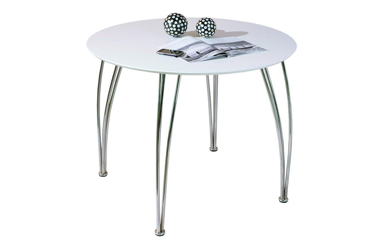 interlink m bel tisch esstisch cellini rund 100 cm platte weiss f e chrome preisvergleich. Black Bedroom Furniture Sets. Home Design Ideas