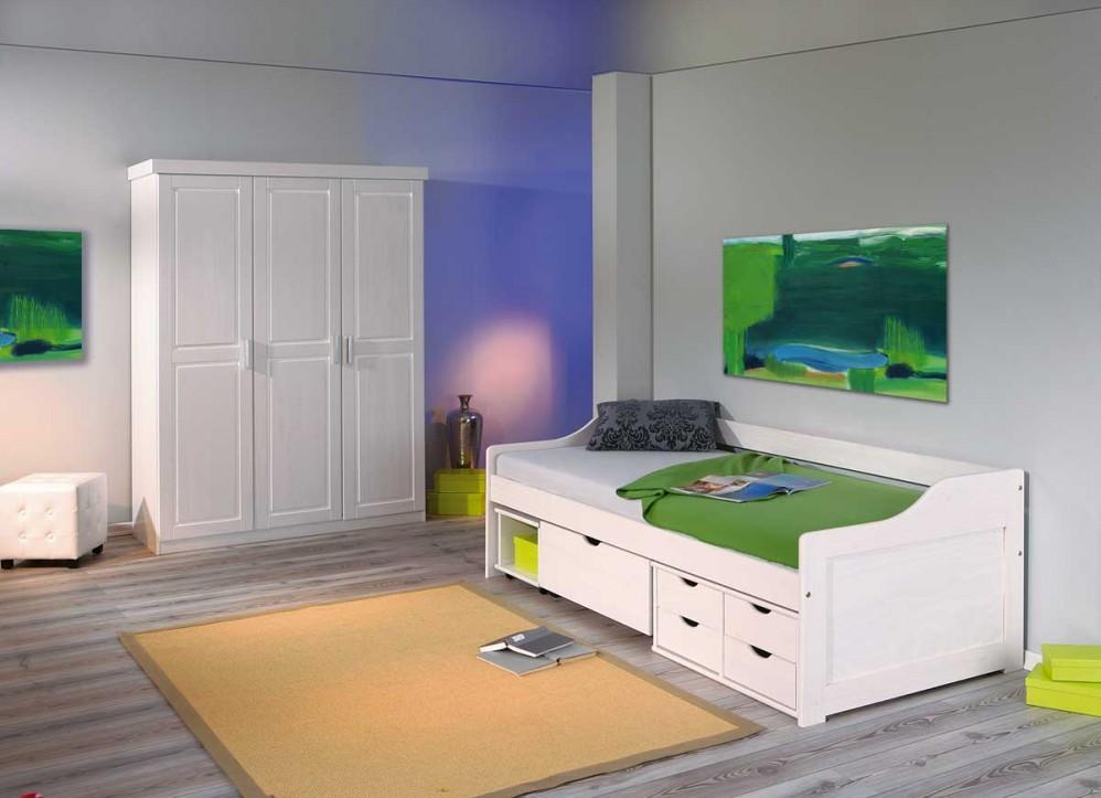 Kinderzimmer-Set aus Kleiderschrank Magnus und Kinderbett Kiefer weiß