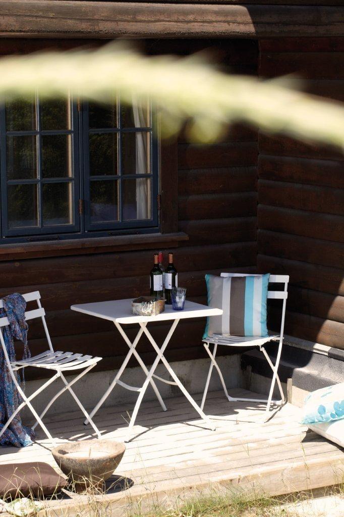 Garten Bistro-Set Spring von Jan Kurtz in weiß, Klapptisch + 1 Stuhl
