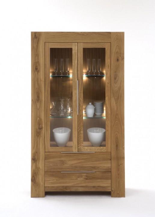 vitrine balder wildeiche massivholz 2 t ren und 2 schubl den. Black Bedroom Furniture Sets. Home Design Ideas