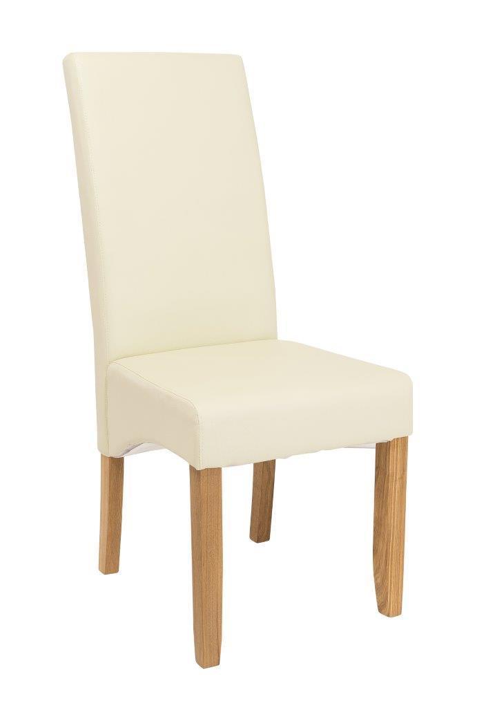 Stuhl Vollpolsterstuhl Bezug Kunstleder Creme Füße Eiche geölt