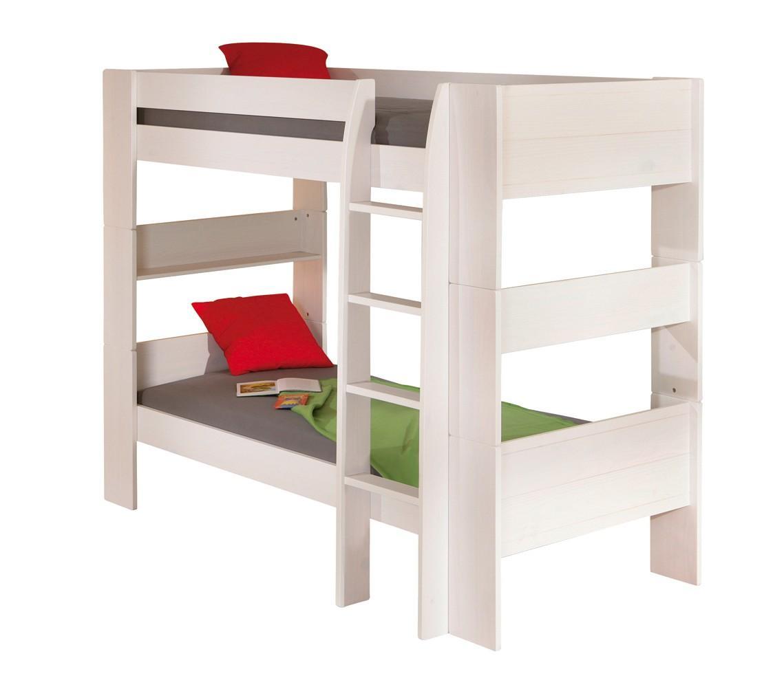 Bett Kinderbett Hochbett Dream Well 3 Kiefer weiß lackiert 90 x 200 cm
