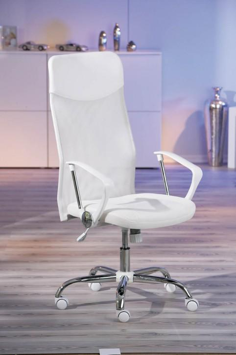 Bürodrehstuhl Bürostuhl FIORI weiß PVC + Mesh