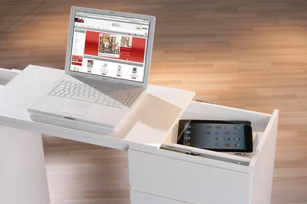 laptop office schreibtisch wei 3 schubl den 1 t r rollbar. Black Bedroom Furniture Sets. Home Design Ideas