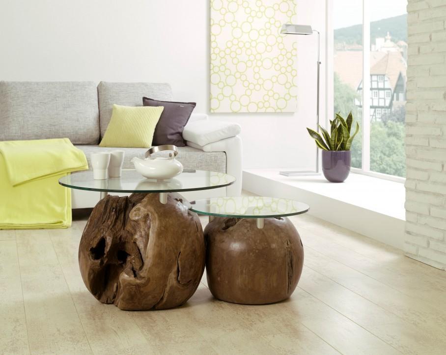 Henke Couchtisch Beistelltisch TZT500 Teak mit runden Glasplatten