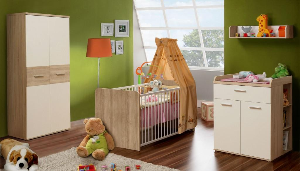 babyzimmer komplettset in sonoma eiche mit absetzungen in wei. Black Bedroom Furniture Sets. Home Design Ideas