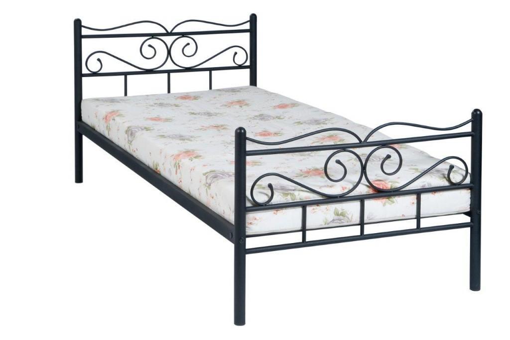 Einzelbett Jeanette Metall schwarz, Liegefläche 90 x 200 cm