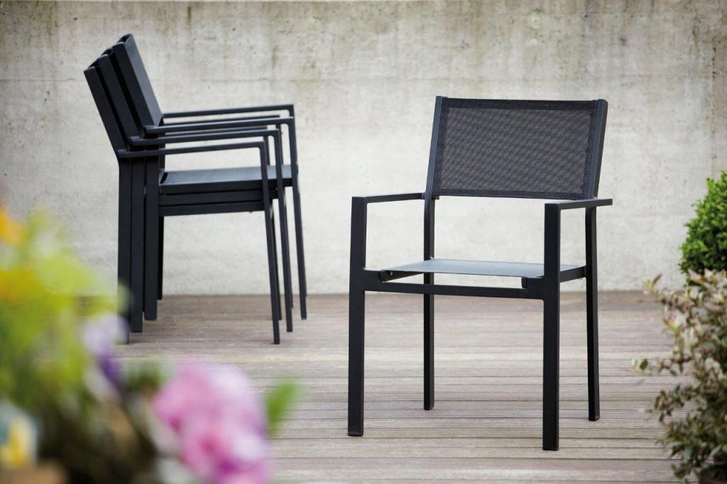 4 x gartenstuhl sessel cubic alu schwarz stapelsessel von jan kurtz. Black Bedroom Furniture Sets. Home Design Ideas