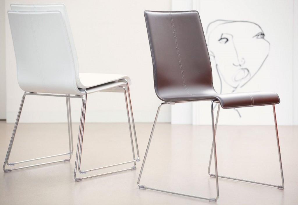 Design Stuhl KUADRA 1298 Leder braun von Jan Kurtz