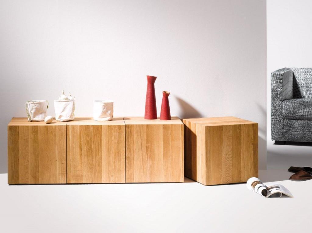 hocker beistelltisch roll it eiche massiv ge lt von jan kurtz. Black Bedroom Furniture Sets. Home Design Ideas