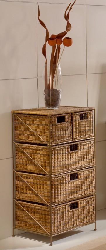 metallregal farbe gold antik 4643 mit 5 rattank rben farbe cabana. Black Bedroom Furniture Sets. Home Design Ideas