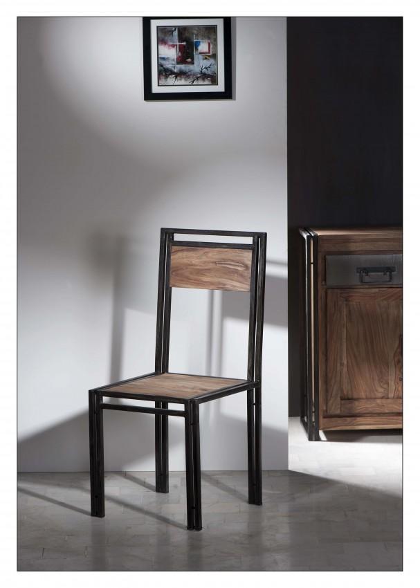 Stuhl Panama aus Shesham und Altmetall mit Gebrauchspuren