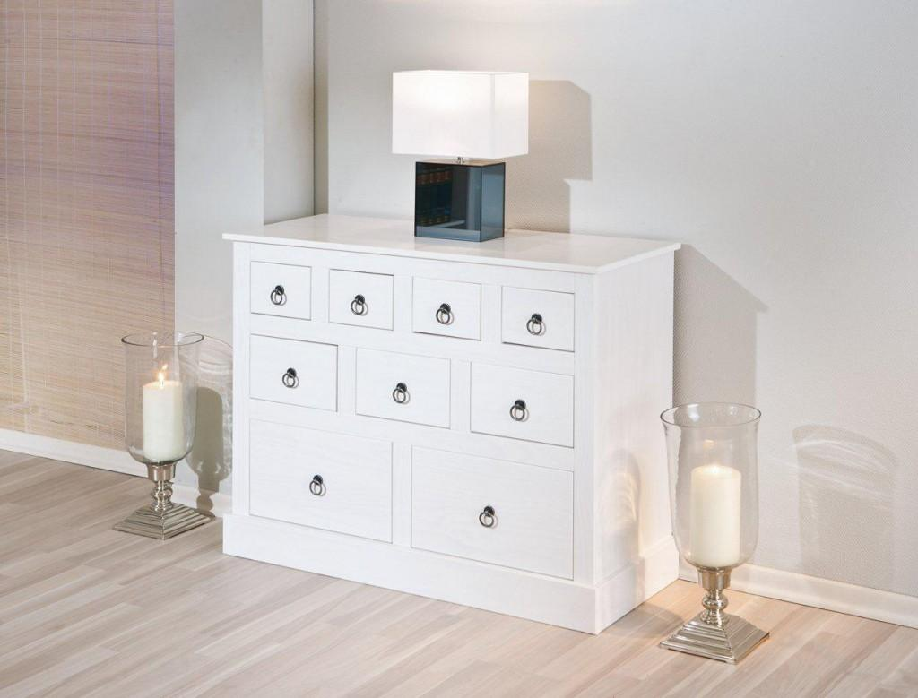 sideboard provence kommode mit 9 schubladen kiefer massiv wei. Black Bedroom Furniture Sets. Home Design Ideas
