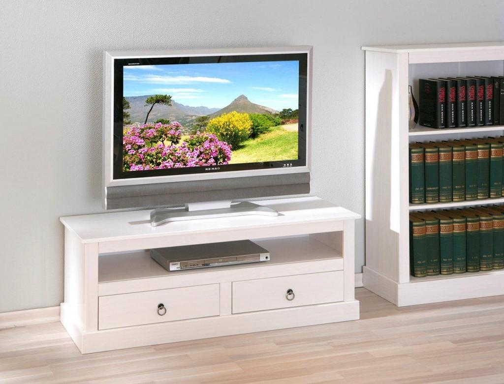 tv board provence kommode mit 2 schubladen kiefer massiv wei. Black Bedroom Furniture Sets. Home Design Ideas