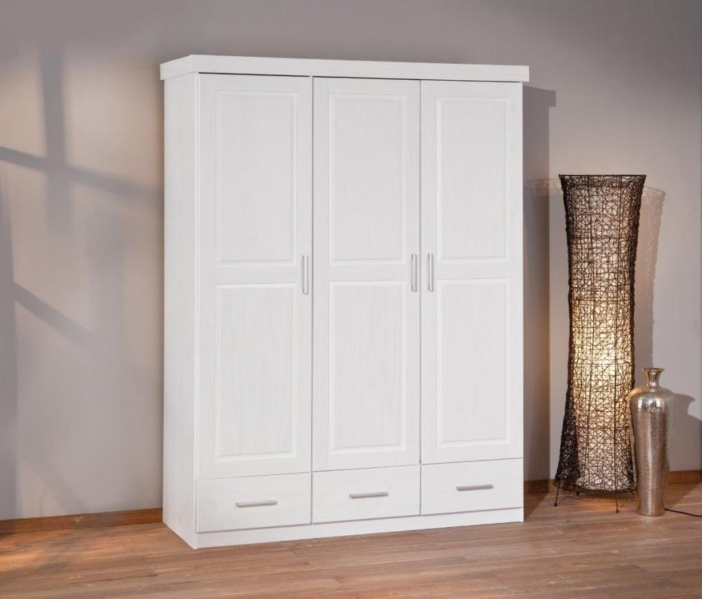 schrank kleiderschrank julio 3 t ren kiefer massiv weiss. Black Bedroom Furniture Sets. Home Design Ideas