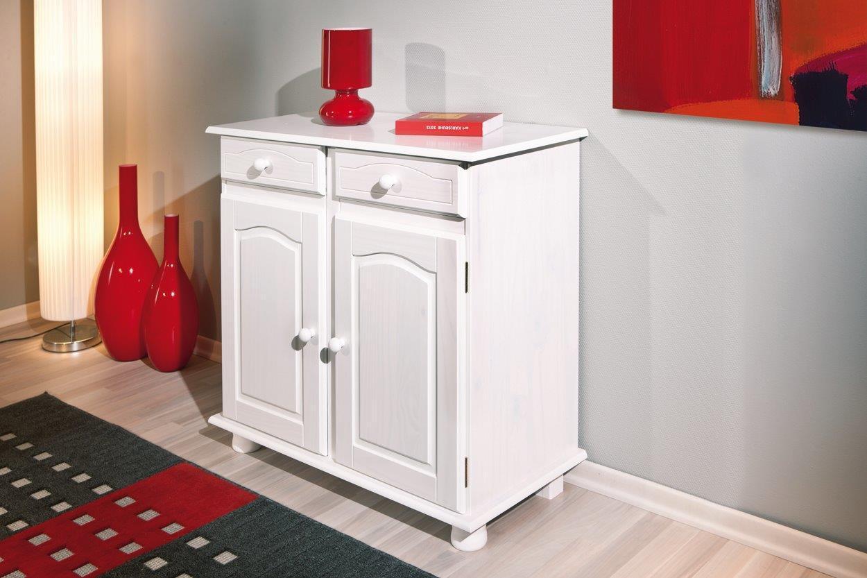 Kommode Anrichte LOVI 2 Türen Kiefer Massivholz weiß lackiert