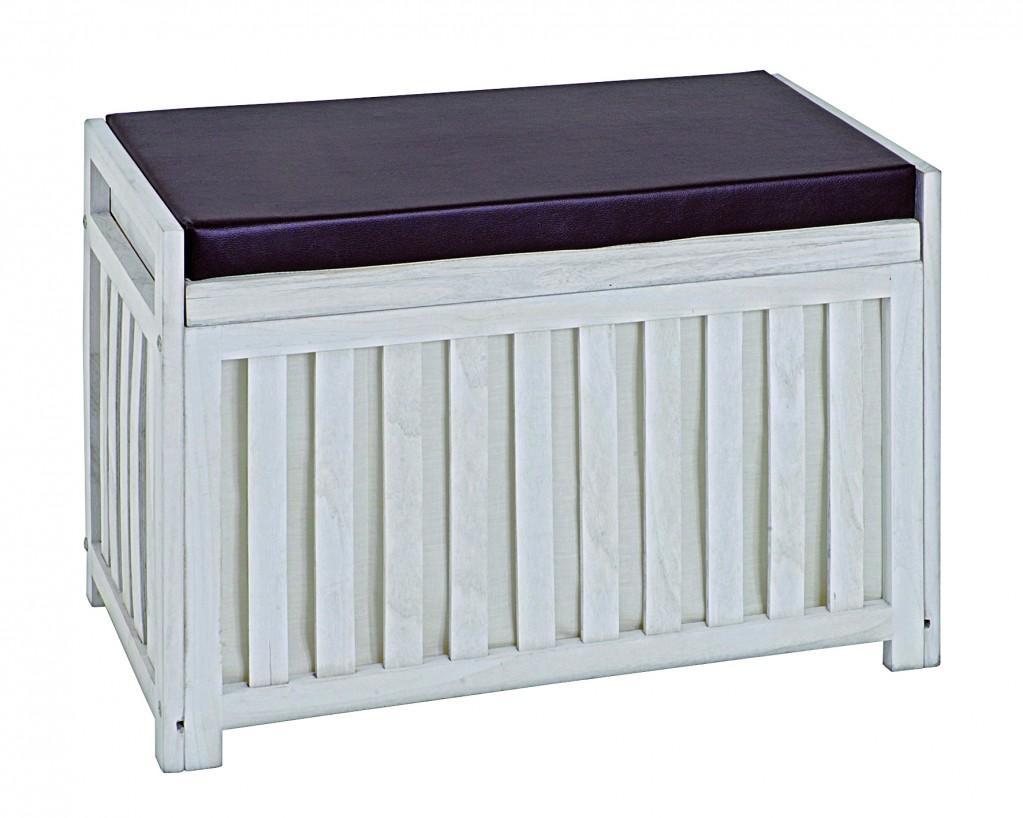 bank truhenbank garderobenbank massivholz wei inkl polsterauflage. Black Bedroom Furniture Sets. Home Design Ideas