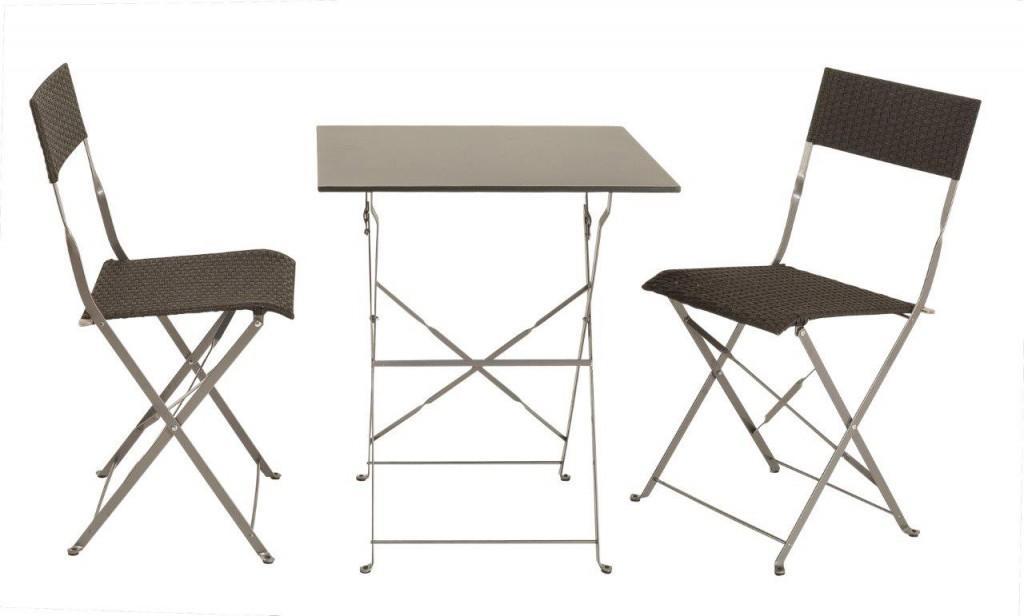 Tischgruppe Bistroset Balkonset mit 2 Klappstühlen schwarz silber