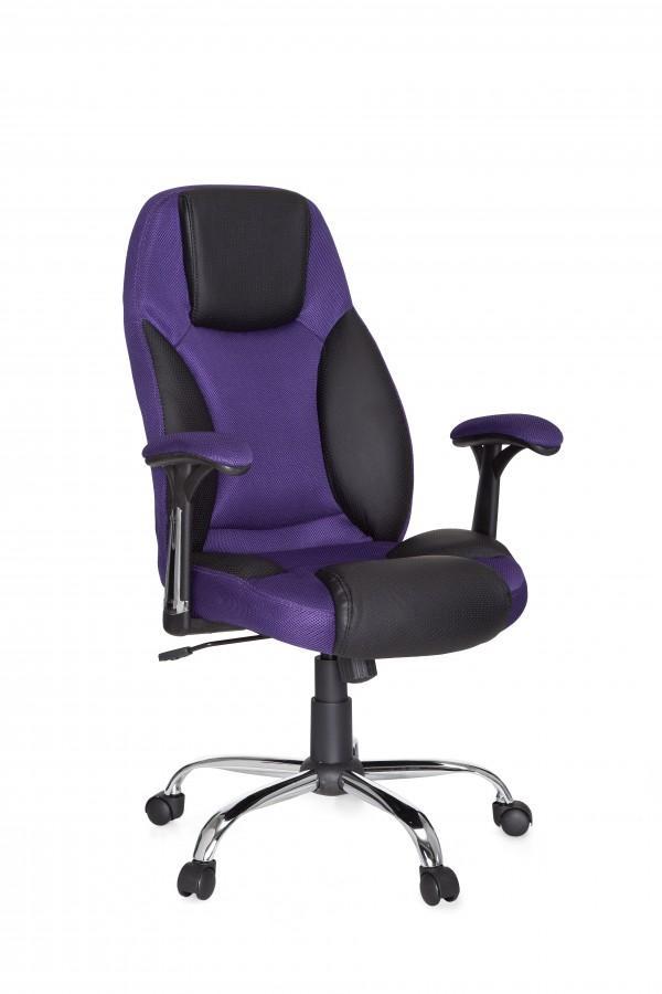 Design Chefsessel Imola Stoff / Kunstleder Schwarz / purple