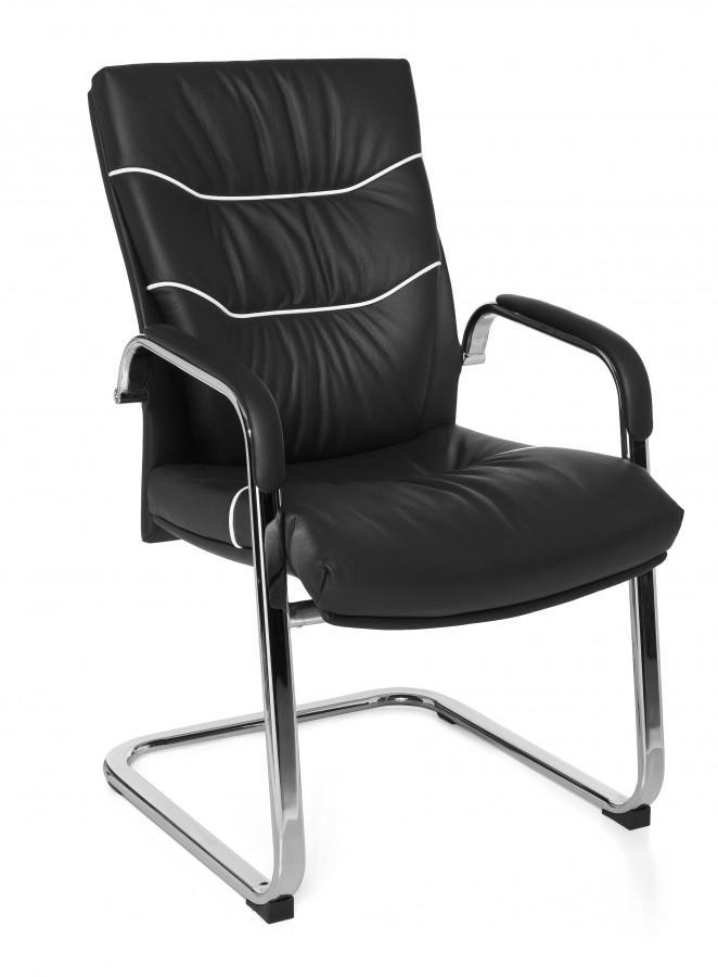 freischwinger konferenzstuhl ferrol visitor echtleder schwarz. Black Bedroom Furniture Sets. Home Design Ideas