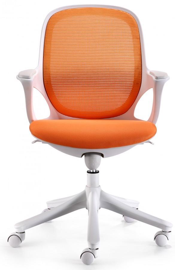 MAGLO Bürostuhl Orange Weiß mit WinTEX Stoff Bezug, bis 150kg