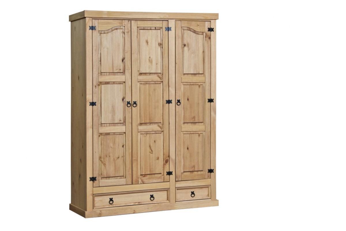 kleiderschrank corona 3 t rig pinie massiv honigfarben. Black Bedroom Furniture Sets. Home Design Ideas