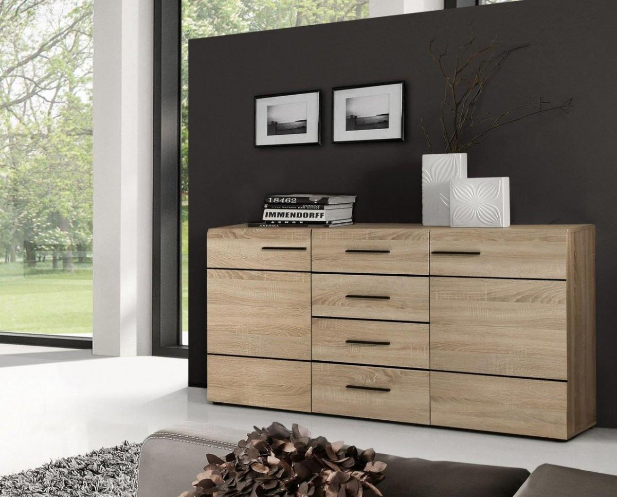 sideboard combino 2 trg 4 schubladen sonoma eiche dekor von forte. Black Bedroom Furniture Sets. Home Design Ideas
