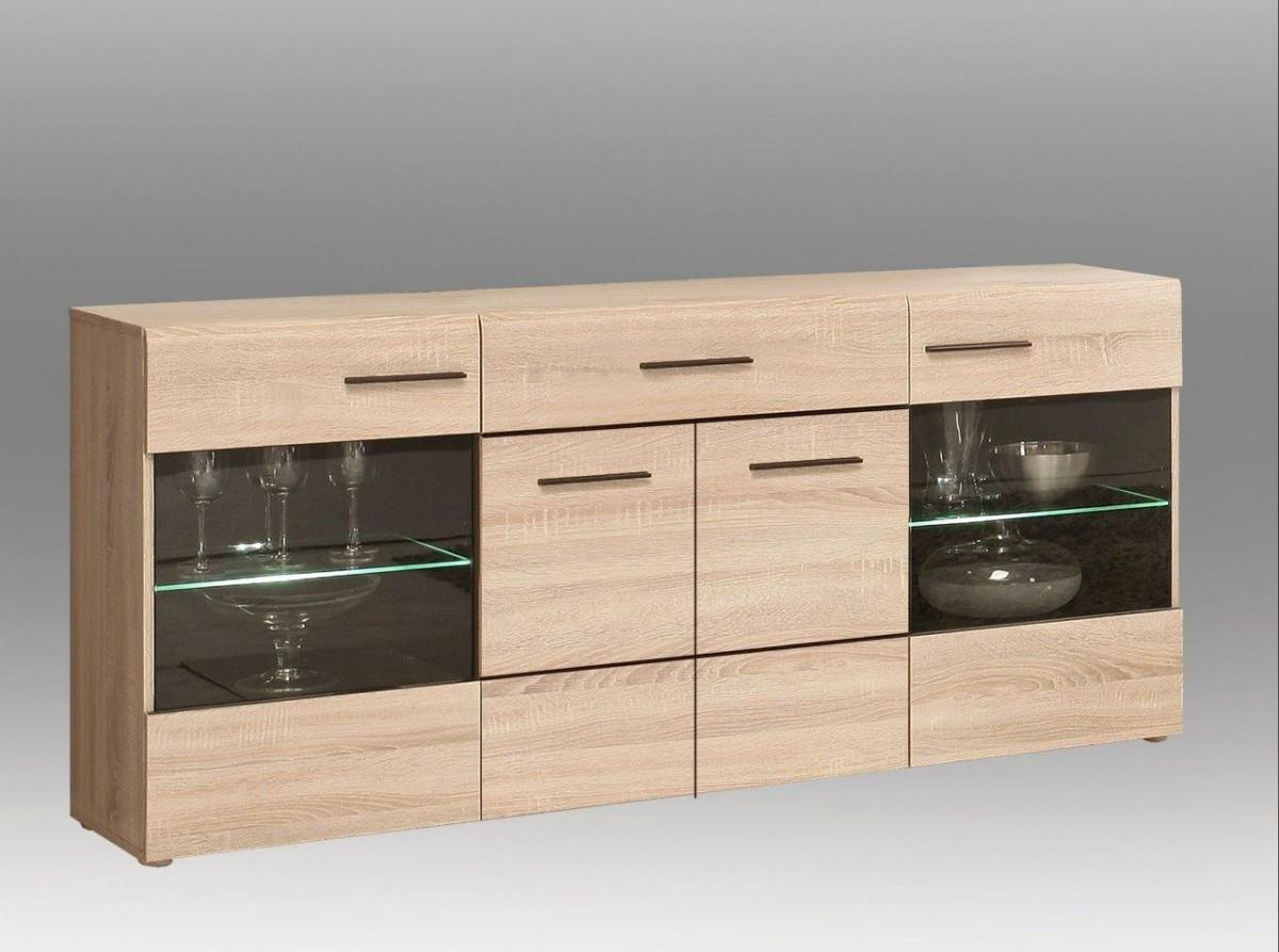 sideboard combino 2 2 t ren verglast 1 schub sonoma eiche von forte. Black Bedroom Furniture Sets. Home Design Ideas