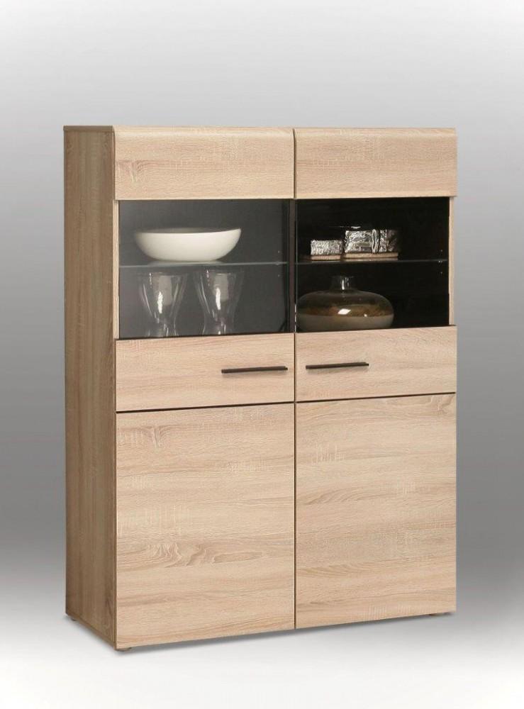 highboard vitrine combino 2 t ren verglast sonoma eiche von forte. Black Bedroom Furniture Sets. Home Design Ideas