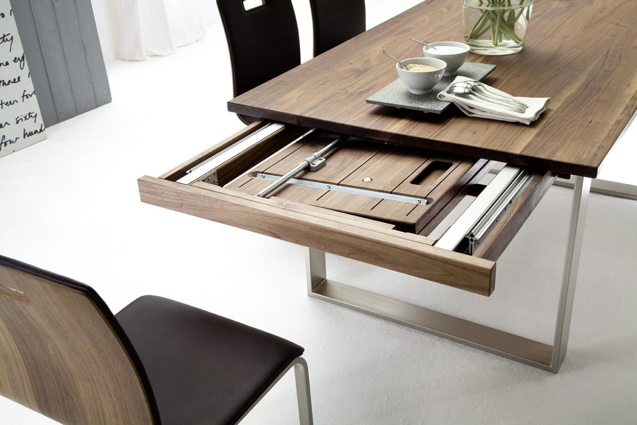 Esstisch kufentisch tina in nussbaum ge lt oder lackiert for Hersteller esstische ausziehbar