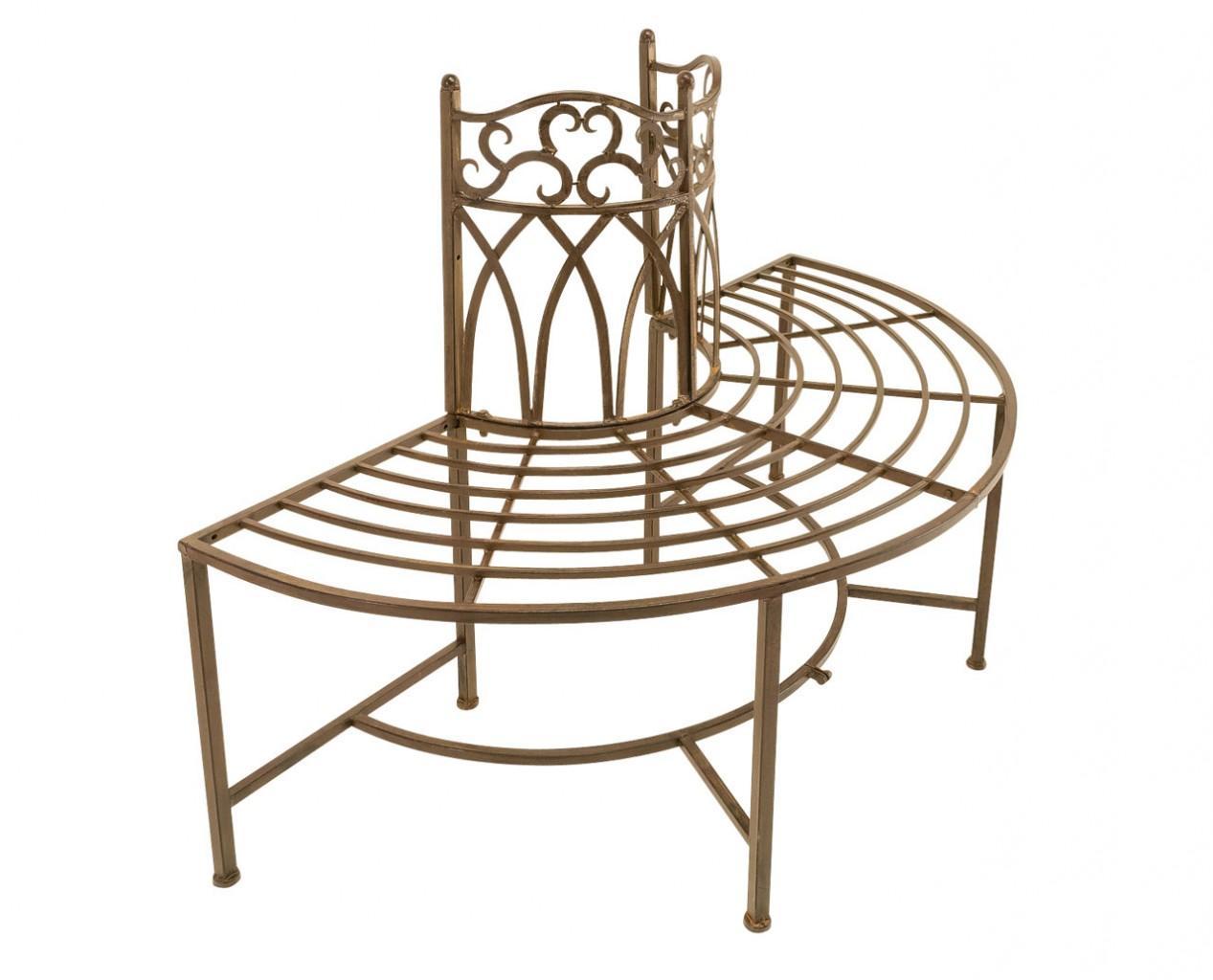 baumbank metallbank halbrund dunkelbraun antik lackiert. Black Bedroom Furniture Sets. Home Design Ideas