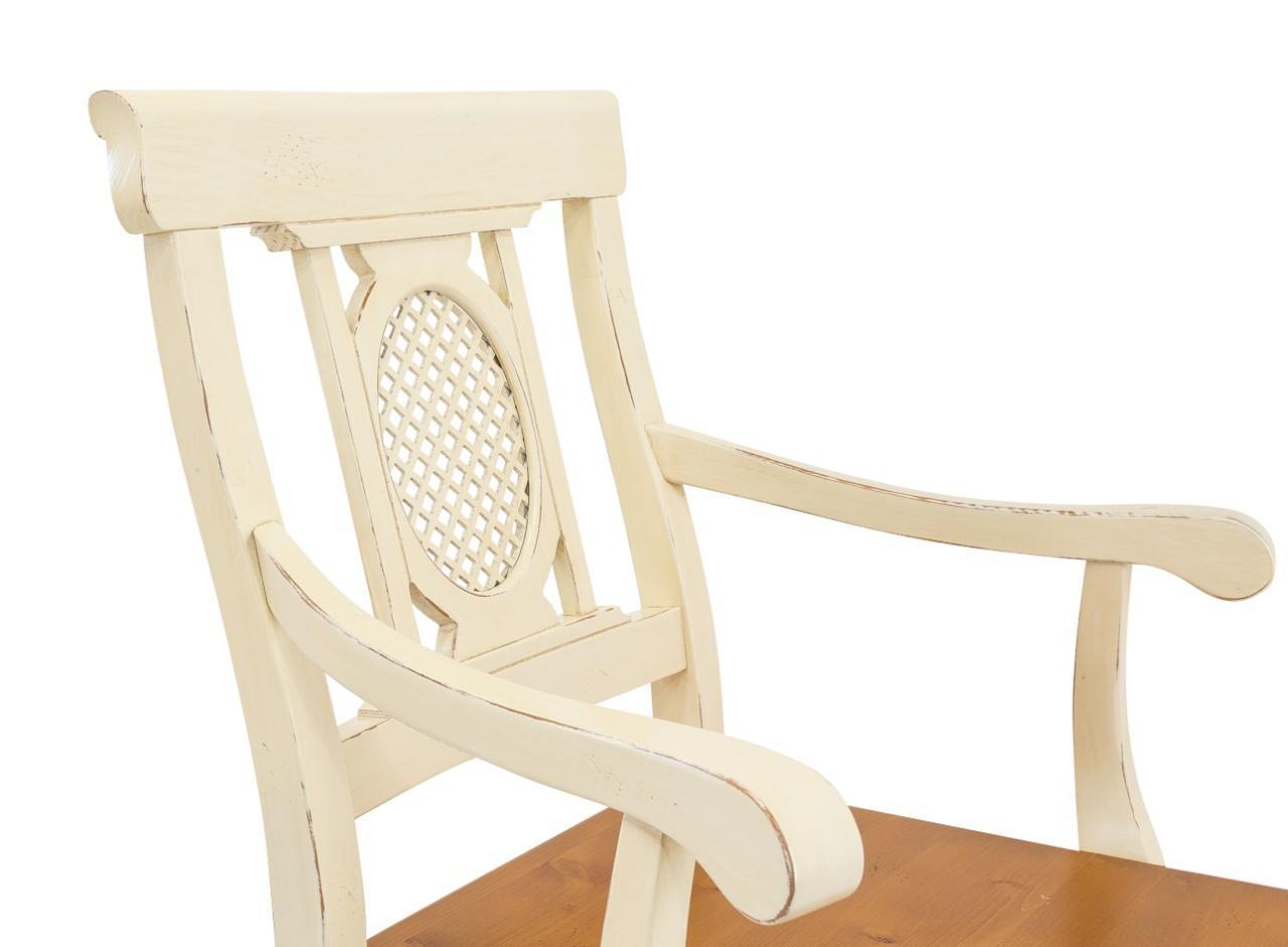 Armlehnstuhl verona stuhl mit armlehne ziergitter fichte for Stuhl mit armlehne kunstleder