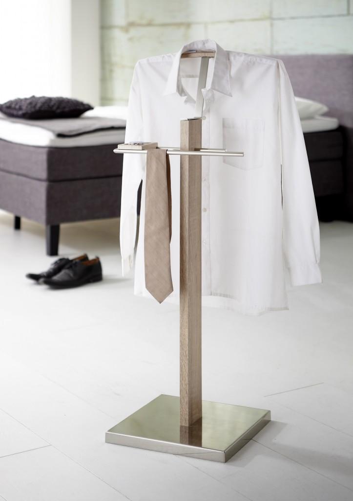 herrendiener kuba eiche hell fu und kleiderb gel edelstahloptik. Black Bedroom Furniture Sets. Home Design Ideas