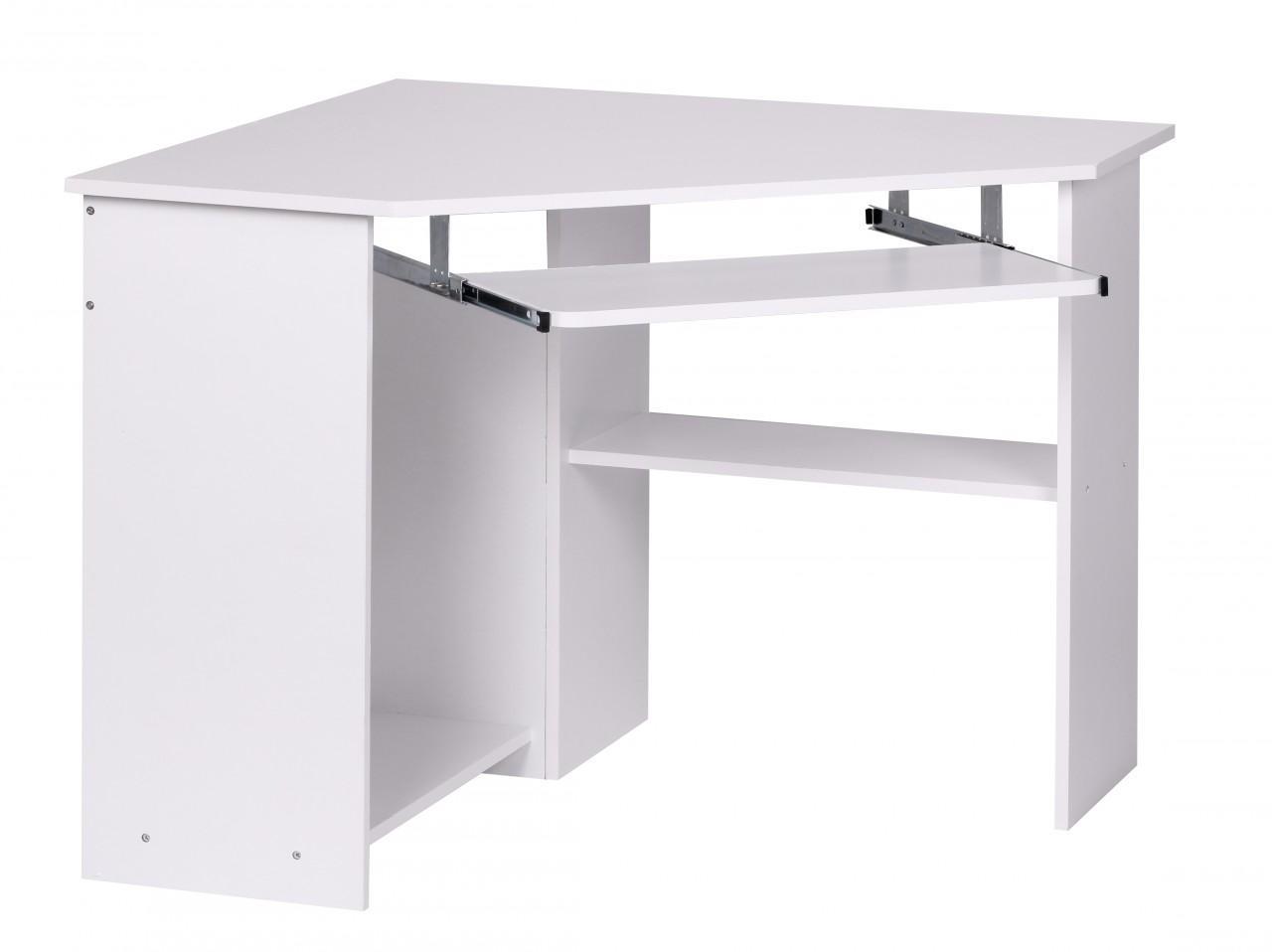 Schreibtisch Eckschreibtisch Computertisch Weiß mit Tastaturauszug