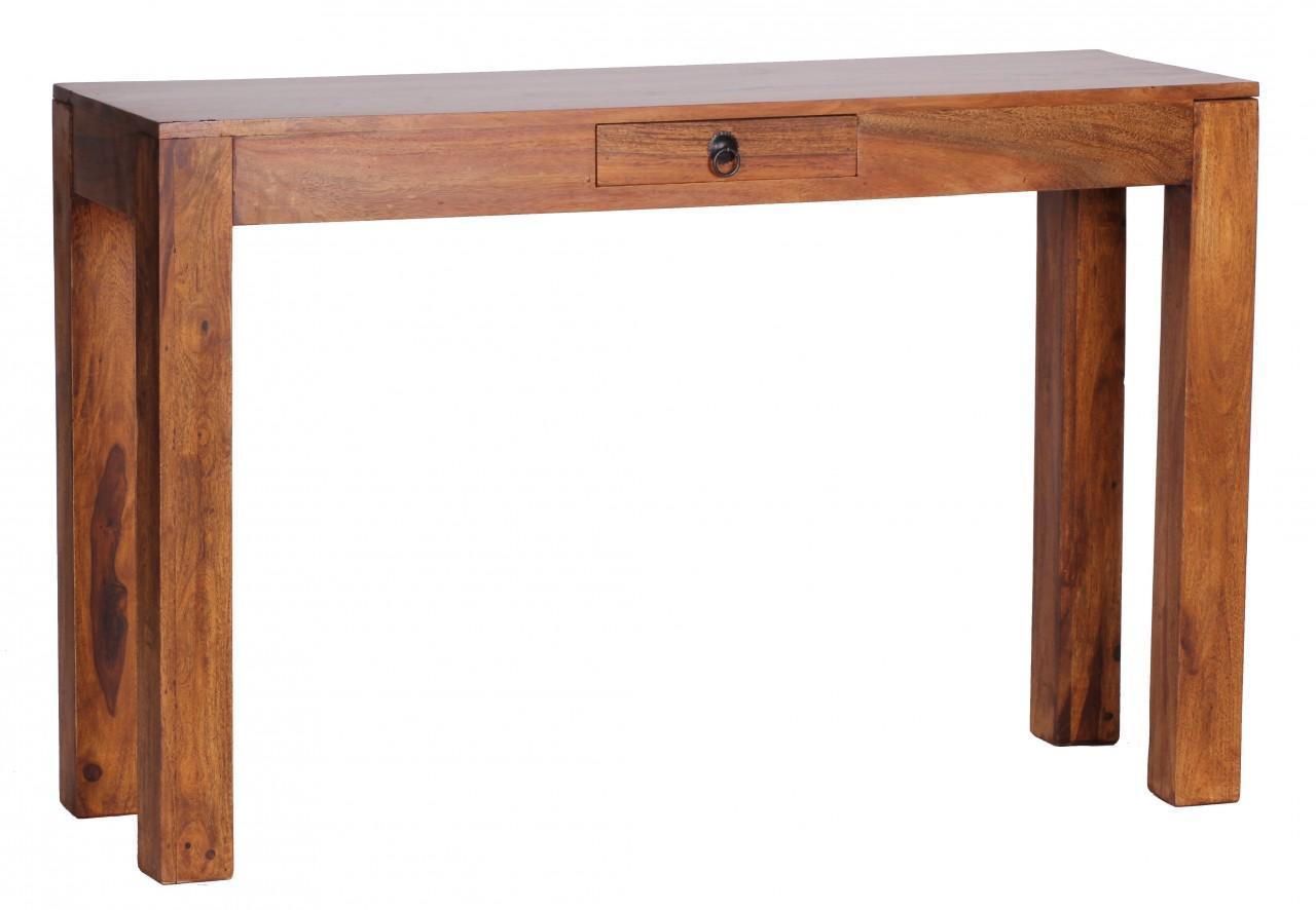 sheesham konsolentisch massiv 120 cm mit 1 schublade. Black Bedroom Furniture Sets. Home Design Ideas