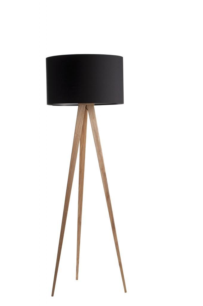 Zuiver Tripod Designer Lampe Stehleuchte Schirm schwarz - Füße natur