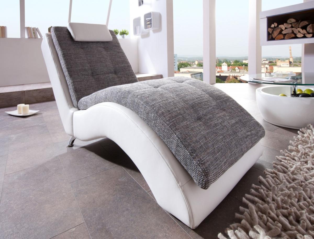 relaxliege wohnzimmer weiß:Liege Relaxliege Varese Weiß/Grau inkl ...