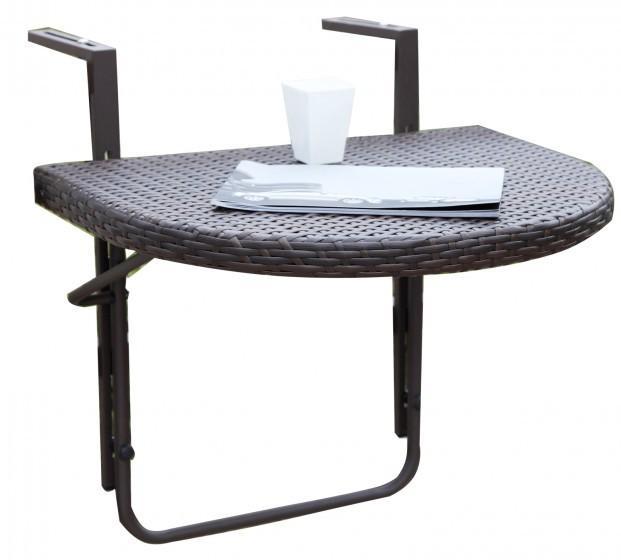 balkontisch h ngetisch agra 60 x 50 cm polyrattan farbe coffee. Black Bedroom Furniture Sets. Home Design Ideas