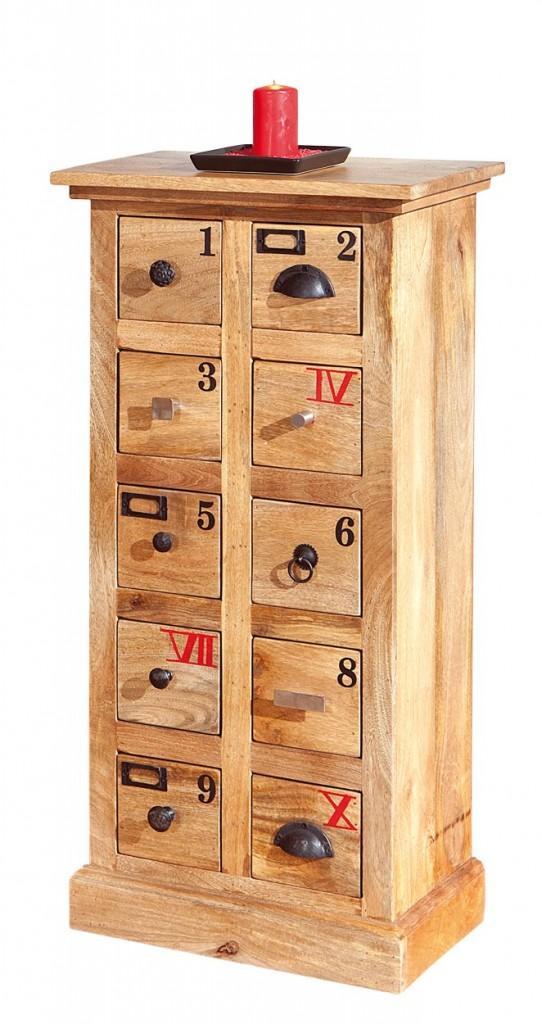 Kommode OURO 10 Schübe Schubladenkommode aus massivem Mangoholz