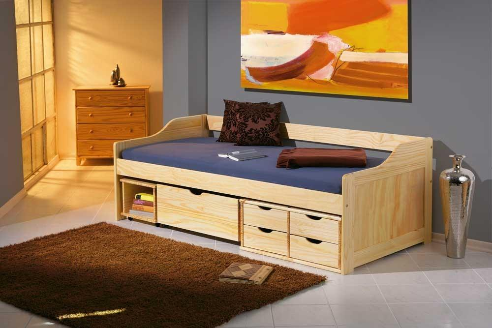 funktionsbett maxima 90 x 200 kiefer massivholz mit vielen schubladen. Black Bedroom Furniture Sets. Home Design Ideas