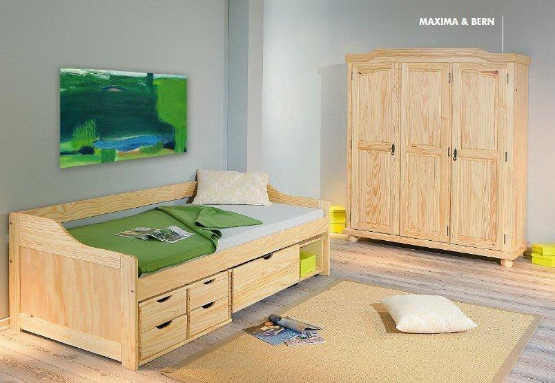 funktionsbett maxima 90 x 200 kiefer massivholz mit vielen schubladen. Black Bedroom Furniture Sets. Home Design Ideas