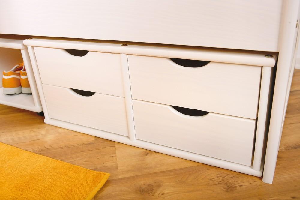 jugendbett floro 90x200 kiefer wei massiv mit praktischen schubladen. Black Bedroom Furniture Sets. Home Design Ideas