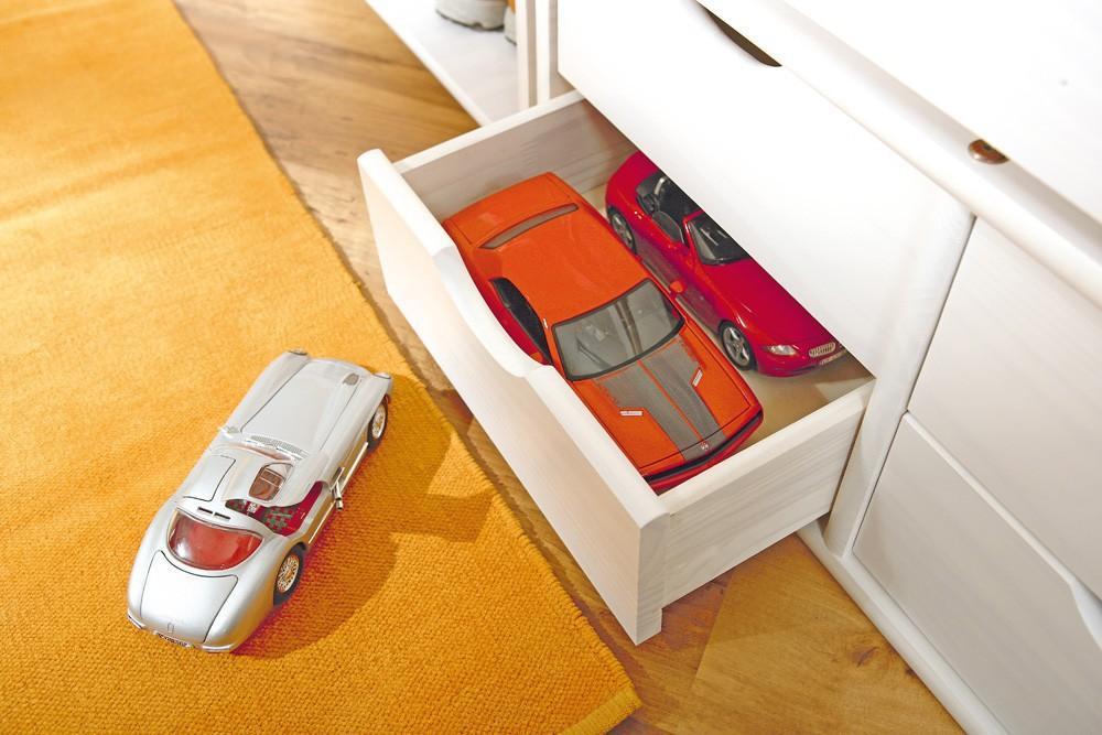 jugendbett floro 90x200 kiefer wei massiv mit praktischen. Black Bedroom Furniture Sets. Home Design Ideas