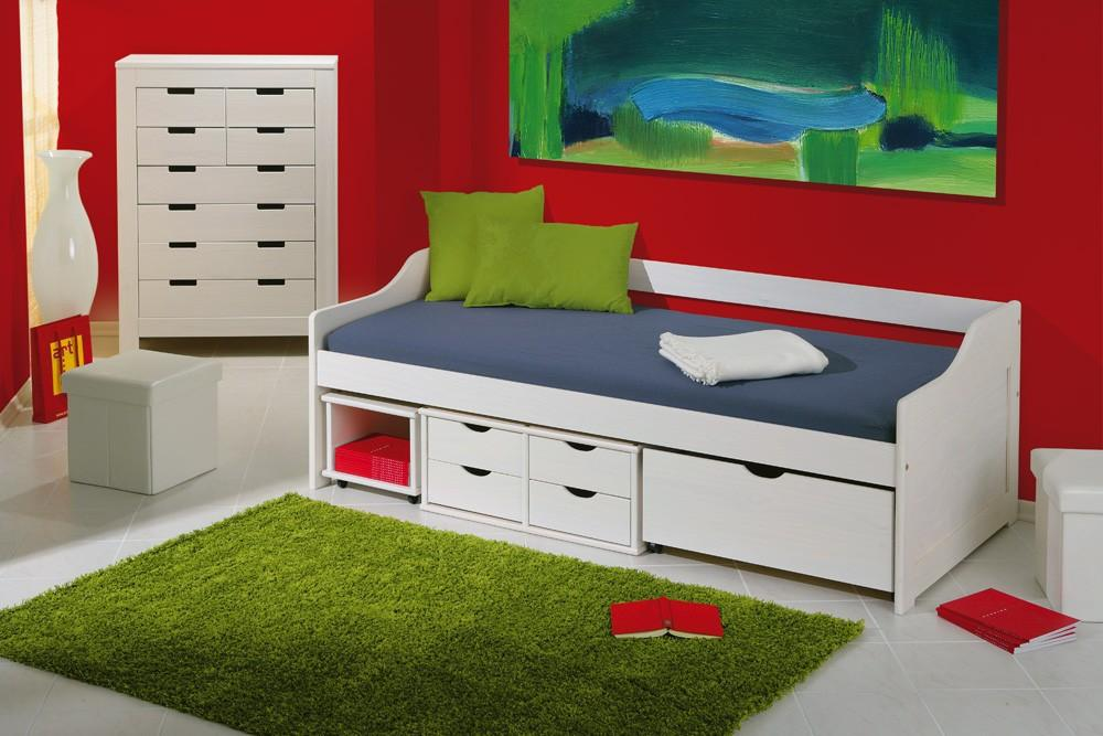 jugendbett floro 90x200 kiefer wei massiv mit praktischen schubladen. Black Bedroom Furniture Sets. Home Design Ideas